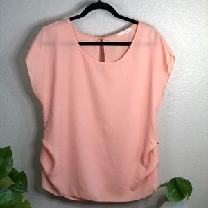 Soft pink, sheer, gold button blouse
